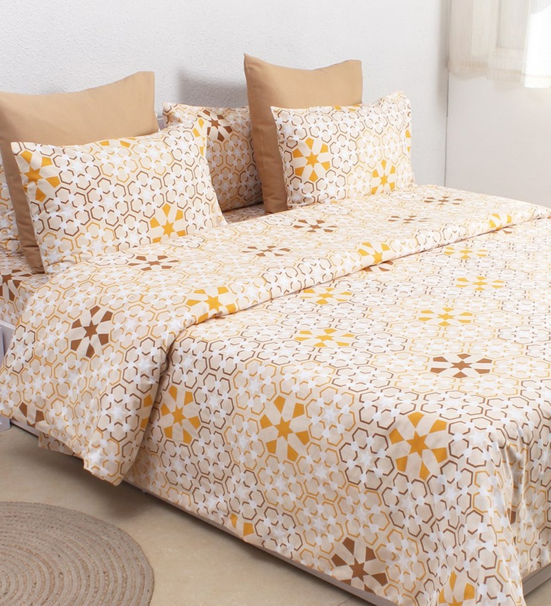 Beige 100% Cotton Single Size Duvet Cover by House This