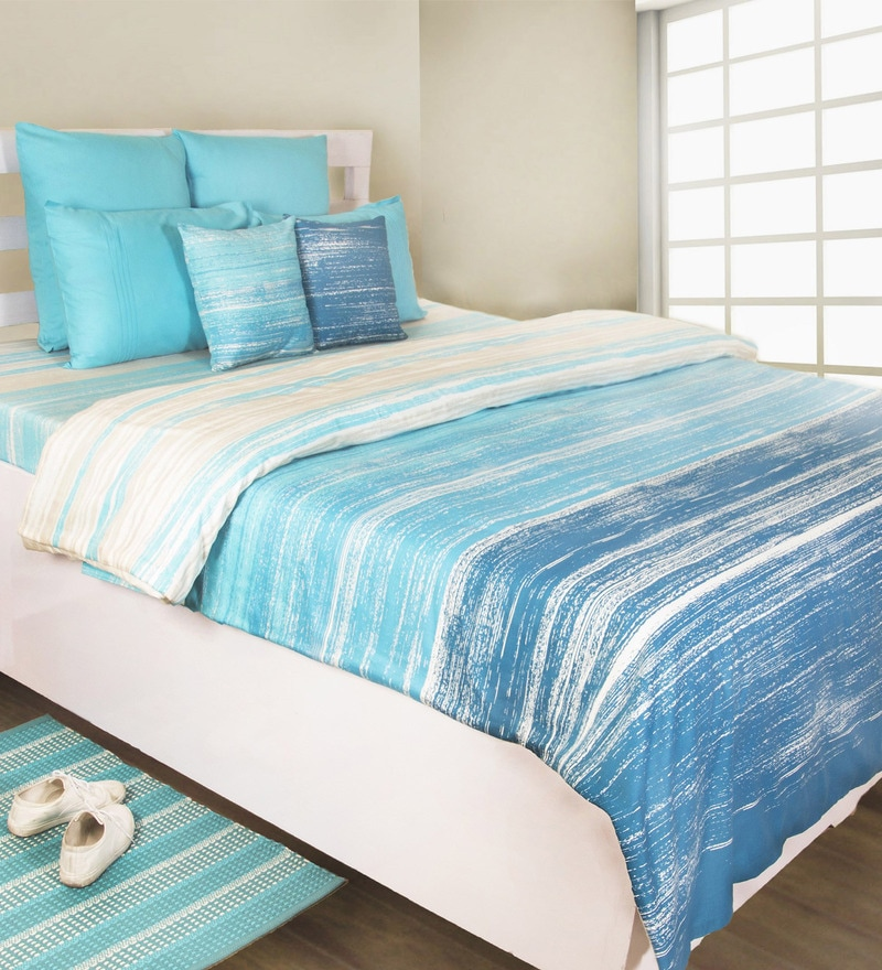 Blue 100% Cotton Duvet Cover by House This