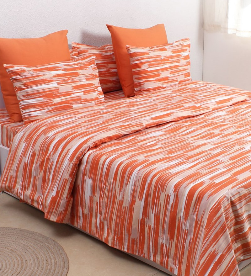 Orange 100% Cotton Single Size Duvet Cover by House This
