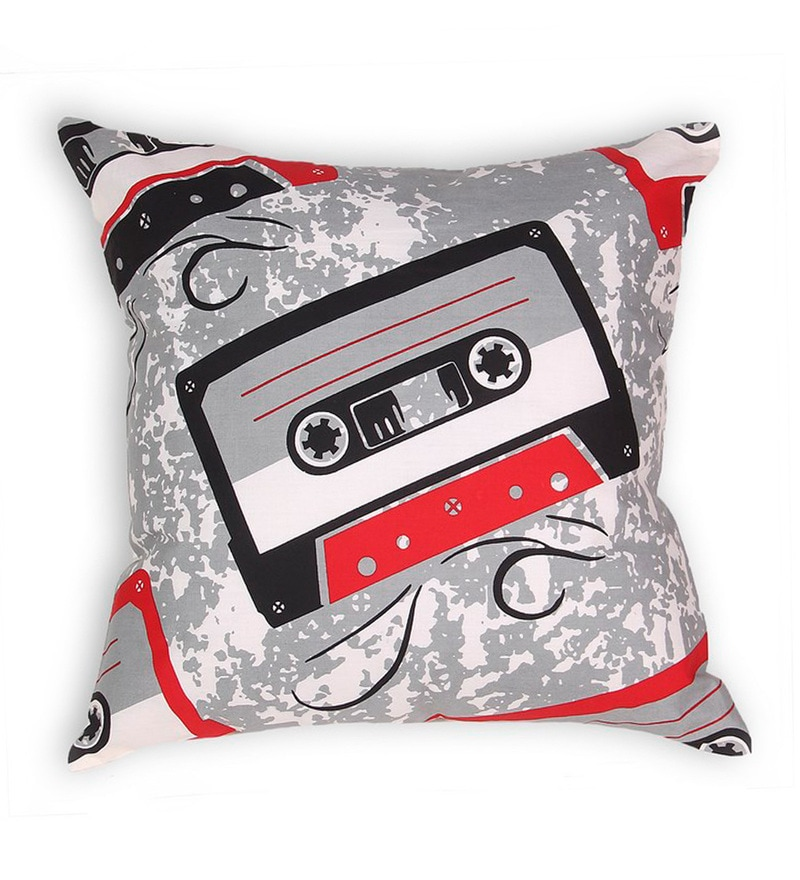Red Cotton 16 x 16 Inch Gadgets-Cassette Cushion Cover by House This