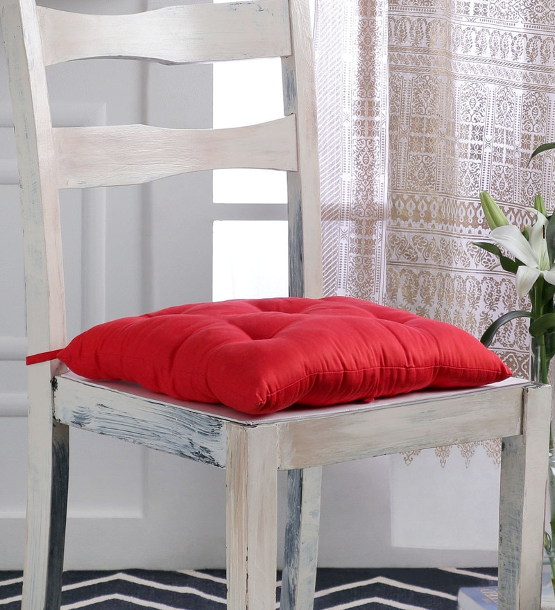 Red Cotton 16 x 16 Inch Solid Chair Pad by House This