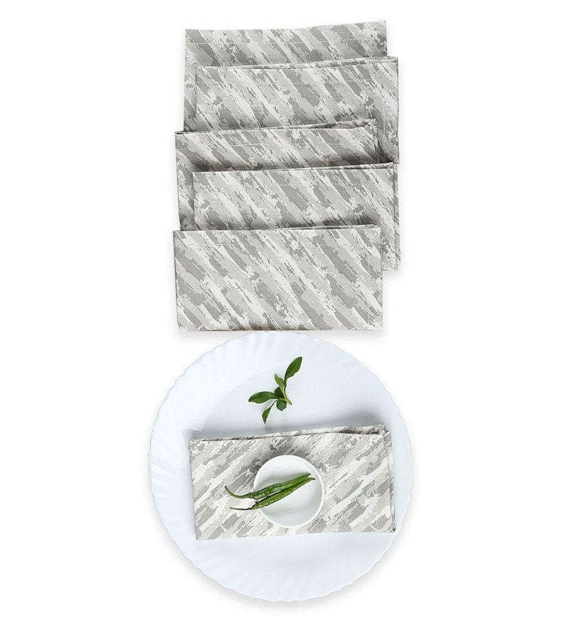 House This The Dry Brush Strokes Grey Cotton Placemats - Set of 6