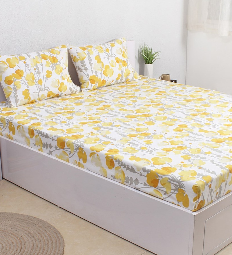 Yellow 100% Cotton Double Size Bedsheet - Set of 3 by House This