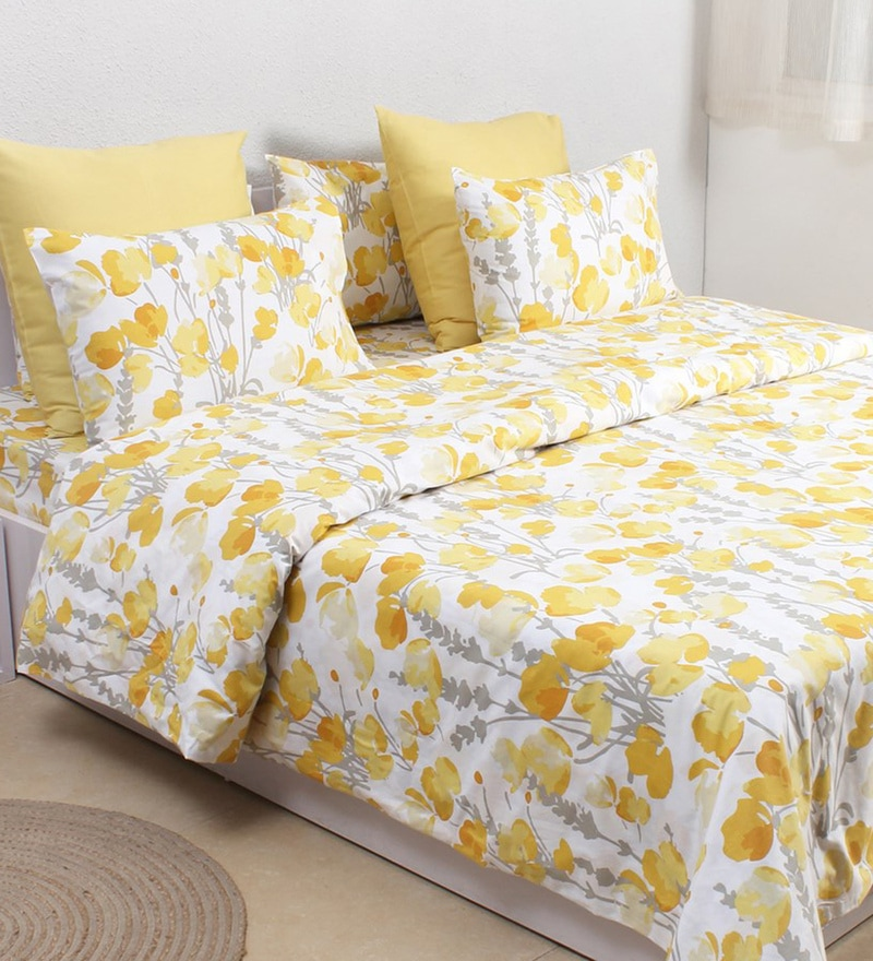 Yellow 100% Cotton Double Size Duvet Cover by House This
