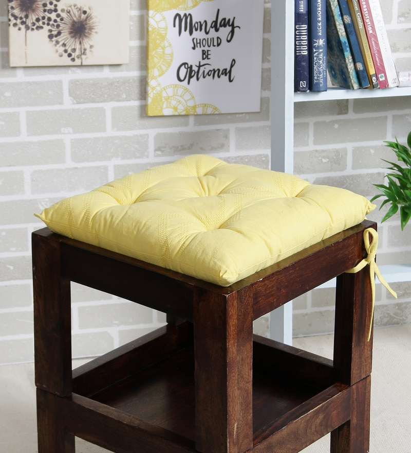 Yellow Cotton 16 x 16 Inch Valley of Flowers Flora Chair Pad by House This