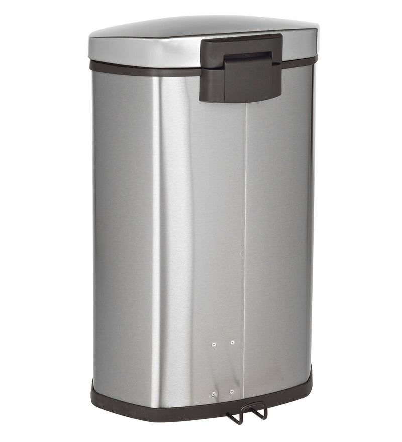 Howards Storage World Eko Soft Close Pedal Stainless Steel 10 L Dustbin
