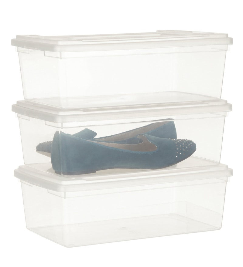 Howards Storage World Plastic 5.5 L Shoe Boxes - Set of 3