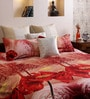 Home Creation Red Polyester Trees 94 x 86 Inch Double Bed Sheet (with Pillow Covers)