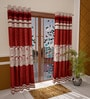 Home Creation Beige & Red Polyester 84 x 48 Inch Geometric Door Curtain - Set of 2