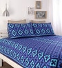 Blue Cotton Queen Size Bed Sheet - Set of 3 by Home Ecstasy