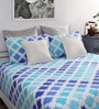 Home Ecstasy Blue Cotton Geometric Printed Double Bed Sheet with 2 Pillow Covers-Set of 3