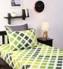 Green Cotton Printed Single Bed Sheet with One Pillow Cover-Set of 2 by Home Ecstasy