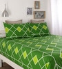 Green Cotton Queen Size Bed Sheet - Set of 3 by Home Ecstasy