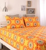 Yellow Cotton Single Size Bed Sheet - Set of 3 by Home Ecstasy