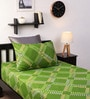 Green Geometric Pattern Single Bed Sheet with One Pillow Cover-Set of 2 by Home Ecstasy