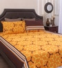 Yellow Cotton Queen Size Bed Sheet - Set of 3 by Home Ecstasy