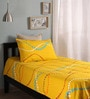 Home Ecstasy Yellow Cotton Queen Size Bed Sheet - Set of 2