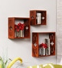 Brown Engineered Wood Wall Shelves - Set of 3 by Home Sparkle