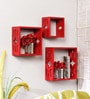 Home Sparkle Red Engineered Wood 3-cube Shelve Set
