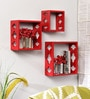 Home Sparkle Red Engineered Wood Durable Shelf - Set of 3