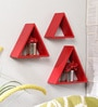 Red Engineered Wood Triangular Shelf - Set of 3 by Home Sparkle