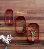 Home Sparkle Red Mango Wood Octagon Wall Shelves