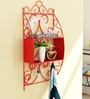 Metallic Decorative Wall Shelf with Hooks in Red Colour by Home Sparkle