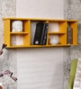 Yellow Engineered Wood Longish Shelf with Partitions by AYMH