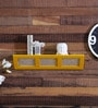 Yellow Engineered Wood with Photo Frame Wall Shelf by Home Sparkle