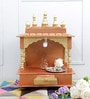 Gold MDF & Mango Wood Semi Large Home Temple with Door by Homecrafts