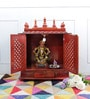 Honey MDF & Mango Wood Large Home Temple with Door by Homecrafts