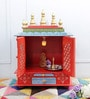 Homecrafts Multicolour MDF & Mango Wood Semi Large Home Temple with Door