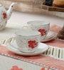 Homeight Peony Hysteria Multicolour Bone China 250 ML Teacups & Saucers - Set of 4