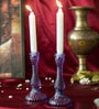 Homesake Purple Glass Candle Stand - Set of 2