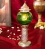 Homesake Silver & Green Brass Small Moroccan Melon Pillar Showpiece