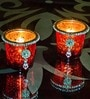 Homesake Red Glass Votive with Jewel Ring & Dangler - Set of 2