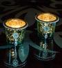 Homesake Turquoise Glass Votive with Jewel Ring & Dangler - Set of 2
