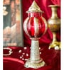 Homesake Silver & Red Metal Large Carved Melon Stand Showpiece