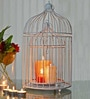 Silver Powder Coated Iron Bird Cage Candle Holder - Set of 2 by Homesake