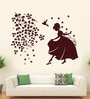 Hoopoe Decor Brown Vinyl Beautiful Girl with Birds & Flowers Wall Decal