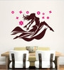 Brown Vinyl Dancing Girl with Pink Flower Wall Decal by Hoopoe Decor