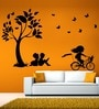 Kids Studying And Playing Wall Decal - Black by Hoopoe Decor