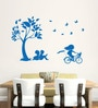 Hoopoe Decor Vinyl Kids Studying & Playing under Tree Vinyl Wall Decal