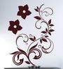 Hoopoe Decor Brown Vinyl Pretty Flowers Wall Sticker