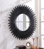 Black Iron & Glass Decorative Sun Shaped Wall Mirror by Hosley