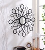 Black Iron Decorative Optical Art Pattern Wall Mirror by Hosley