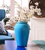 Blue Ceramic Decorative Crek Vase by Hosley
