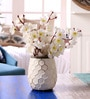 Cream Ceramic Honeycomb Vase by Hosley