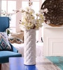 White Ceramic Decorative Quilted Vase by Hosley