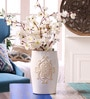 White Ceramic Decorative Vase with Scroll Design by Hosley